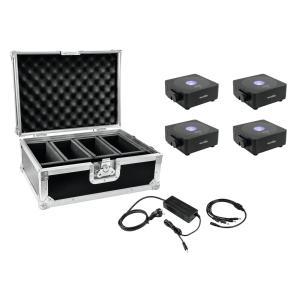 20000442-EUROLITE Set 4x AKKU Flat Light 1 Zwart + Koffer + Oplader - LED Uplight Set