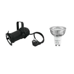 20000096-EUROLITE Set PAR-16 Spot zwart + GU-10 230V COB 1x3W LED 2700K LED Par - LED Par