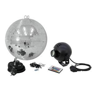 50101862-EUROLITE Spiegelbol Set 30cm met LED RGB Spot RC