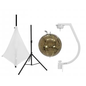 EUROLITE Set Mirror ball 30cm gold with stand and tripod cover white