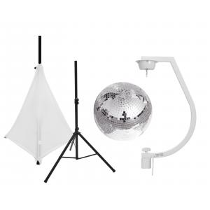EUROLITE Set Mirror ball 30cm with stand and tripod cover white