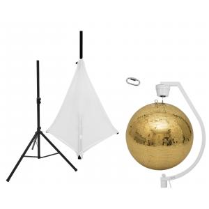 EUROLITE Set Mirror ball 50cm gold with stand and tripod cover white
