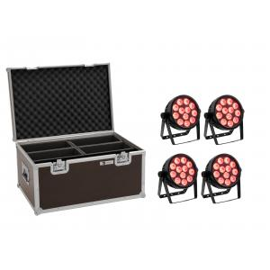 EUROLITE Set 4x LED 4C-12 Silent Slim Spot + Case